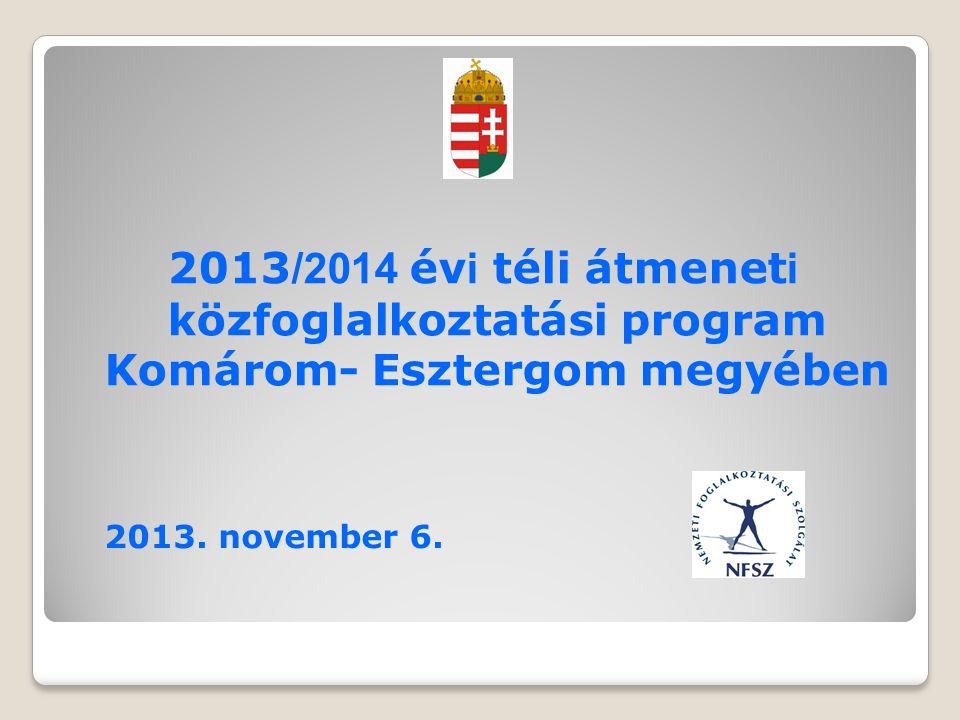 2013 /2014 év i téli átmenet i közfoglalkoztatási program Komárom- Esztergom megyében 2013.