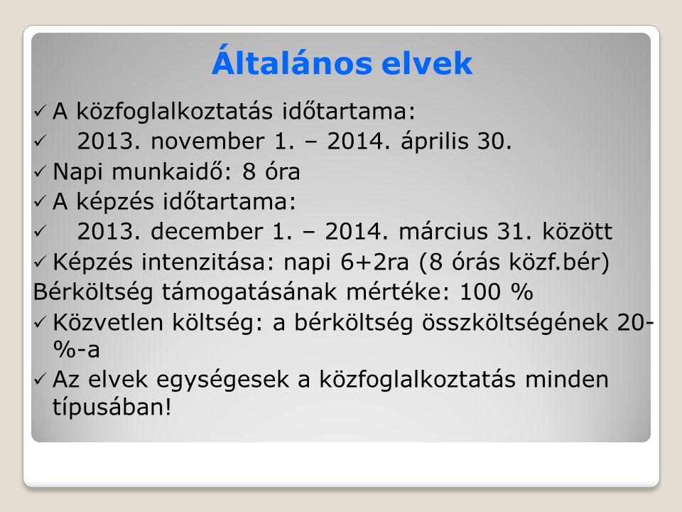 Általános elvek A közfoglalkoztatás időtartama: 2013.