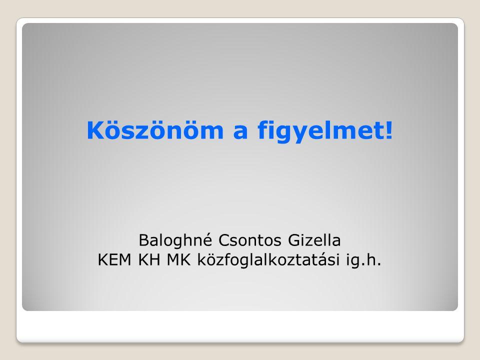 Köszönöm a figyelmet! Baloghné Csontos Gizella KEM KH MK közfoglalkoztatási ig.h.
