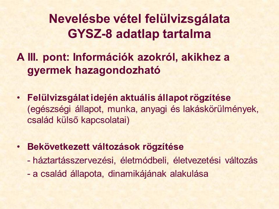 Nevelésbe vétel felülvizsgálata GYSZ-8 adatlap tartalma A III. pont: Információk azokról, akikhez a gyermek hazagondozható Felülvizsgálat idején aktuá