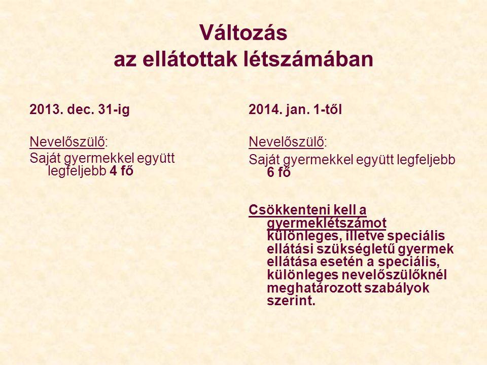 Változás az ellátottak létszámában 2013. dec. 31-ig Nevelőszülő: Saját gyermekkel együtt legfeljebb 4 fő 2014. jan. 1-től Nevelőszülő: Saját gyermekke