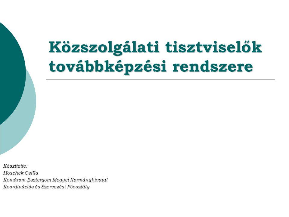Közszolgálati tisztviselők továbbképzési rendszere Készítette: Hoschek Csilla Komárom-Esztergom Megyei Kormányhivatal Koordinációs és Szervezési Főosztály