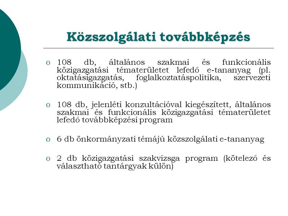 Közszolgálati továbbképzés o108 db, általános szakmai és funkcionális közigazgatási tématerületet lefedő e-tananyag (pl.