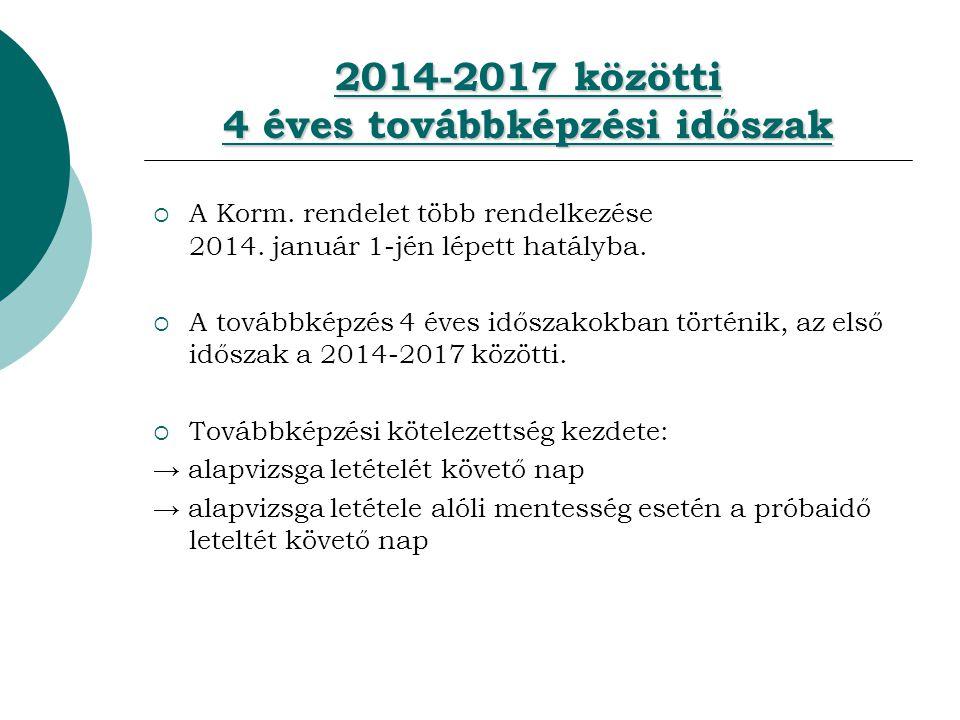 2014-2017 közötti 4 éves továbbképzési időszak  A Korm.