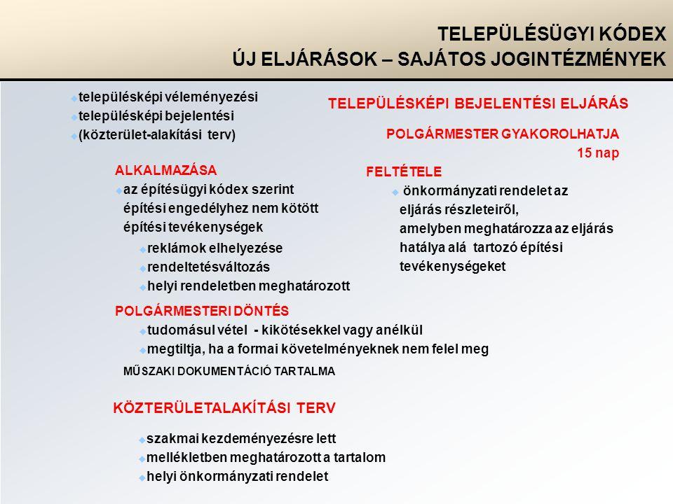  településképi véleményezési  településképi bejelentési  (közterület-alakítási terv) TELEPÜLÉSÜGYI KÓDEX ÚJ ELJÁRÁSOK – SAJÁTOS JOGINTÉZMÉNYEK TELEPÜLÉSKÉPI BEJELENTÉSI ELJÁRÁS FELTÉTELE  önkormányzati rendelet az eljárás részleteiről, amelyben meghatározza az eljárás hatálya alá tartozó építési tevékenységeket ALKALMAZÁSA  az építésügyi kódex szerint építési engedélyhez nem kötött építési tevékenységek POLGÁRMESTER GYAKOROLHATJA 15 nap  tudomásul vétel - kikötésekkel vagy anélkül  megtiltja, ha a formai követelményeknek nem felel meg MŰSZAKI DOKUMENTÁCIÓ TARTALMA  reklámok elhelyezése  rendeltetésváltozás  helyi rendeletben meghatározott POLGÁRMESTERI DÖNTÉS KÖZTERÜLETALAKÍTÁSI TERV  szakmai kezdeményezésre lett  mellékletben meghatározott a tartalom  helyi önkormányzati rendelet