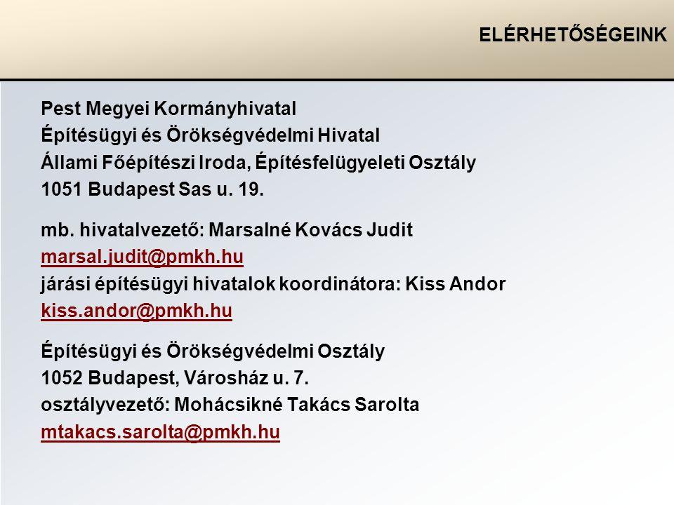 ELÉRHETŐSÉGEINK Pest Megyei Kormányhivatal Építésügyi és Örökségvédelmi Hivatal Állami Főépítészi Iroda, Építésfelügyeleti Osztály 1051 Budapest Sas u.