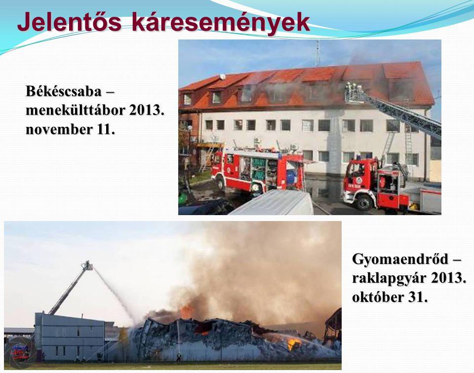 Jelentős káresemények Gyomaendrőd – raklapgyár 2013. október 31. Békéscsaba – menekülttábor 2013. november 11.
