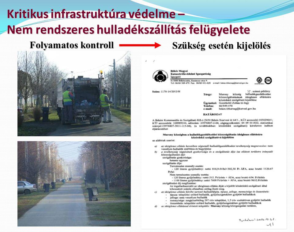 Kritikus infrastruktúra védelme – Nem rendszeres hulladékszállítás felügyelete Szükség esetén kijelölés Folyamatos kontroll