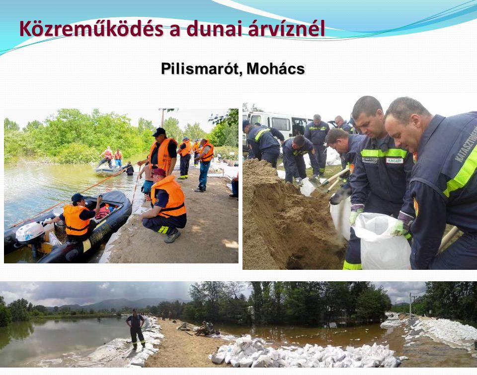 Közreműködés a dunai árvíznél Pilismarót, Mohács
