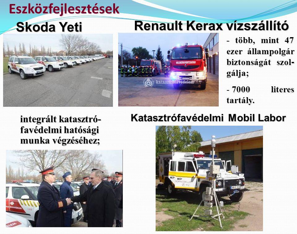 integrált katasztró- favédelmi hatósági munka végzéséhez; Eszközfejlesztések Skoda Yeti Renault Kerax vízszállító - több, mint 47 ezer állampolgár biz