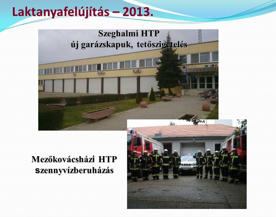 Laktanyafelújítás – 2013. Szeghalmi HTP új garázskapuk, tetőszigetelés Mezőkovácsház i HTP s zennyvízberuházás