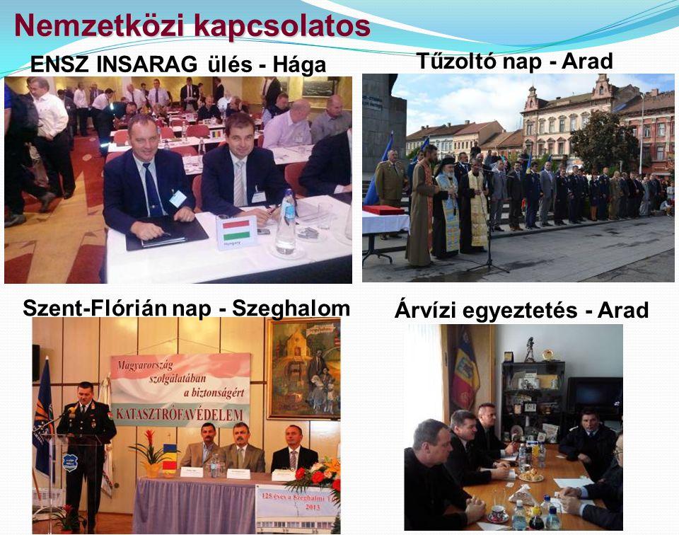 Nemzetközi kapcsolatos ENSZ INSARAG ülés - Hága Tűzoltó nap - Arad Árvízi egyeztetés - Arad Szent-Flórián nap - Szeghalom