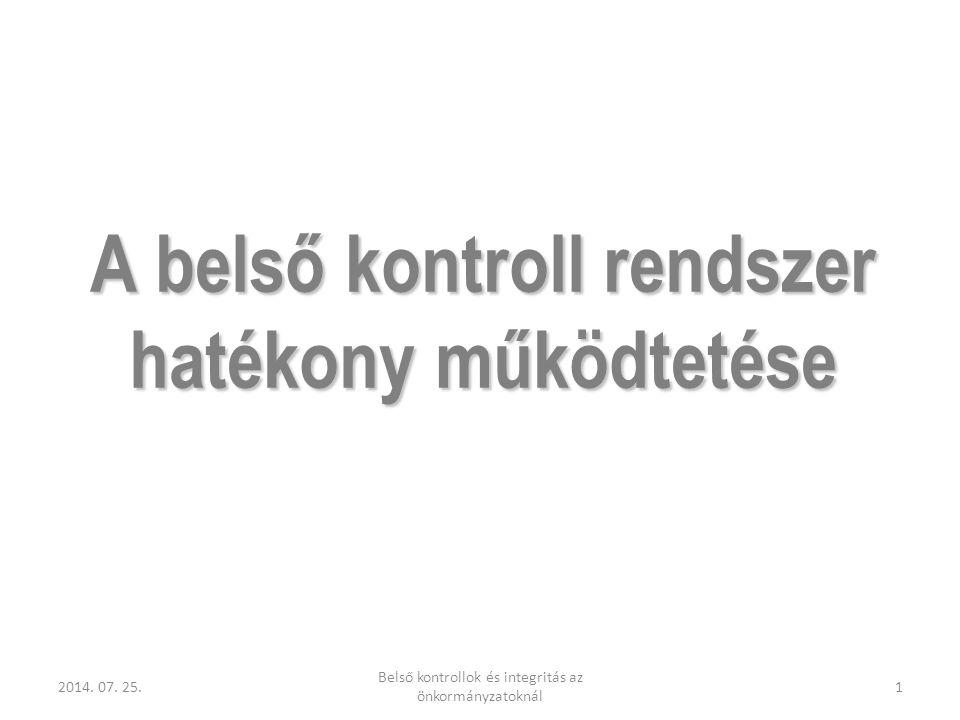 A belső kontroll rendszer hatékony működtetése 2014. 07. 25.1 Belső kontrollok és integritás az önkormányzatoknál