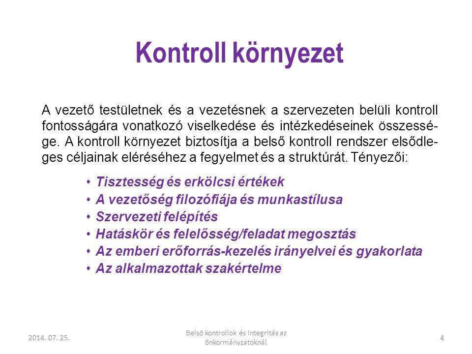 2014. 07. 25. Belső kontrollok és integritás az önkormányzatoknál 4 Kontroll környezet A vezető testületnek és a vezetésnek a szervezeten belüli kontr