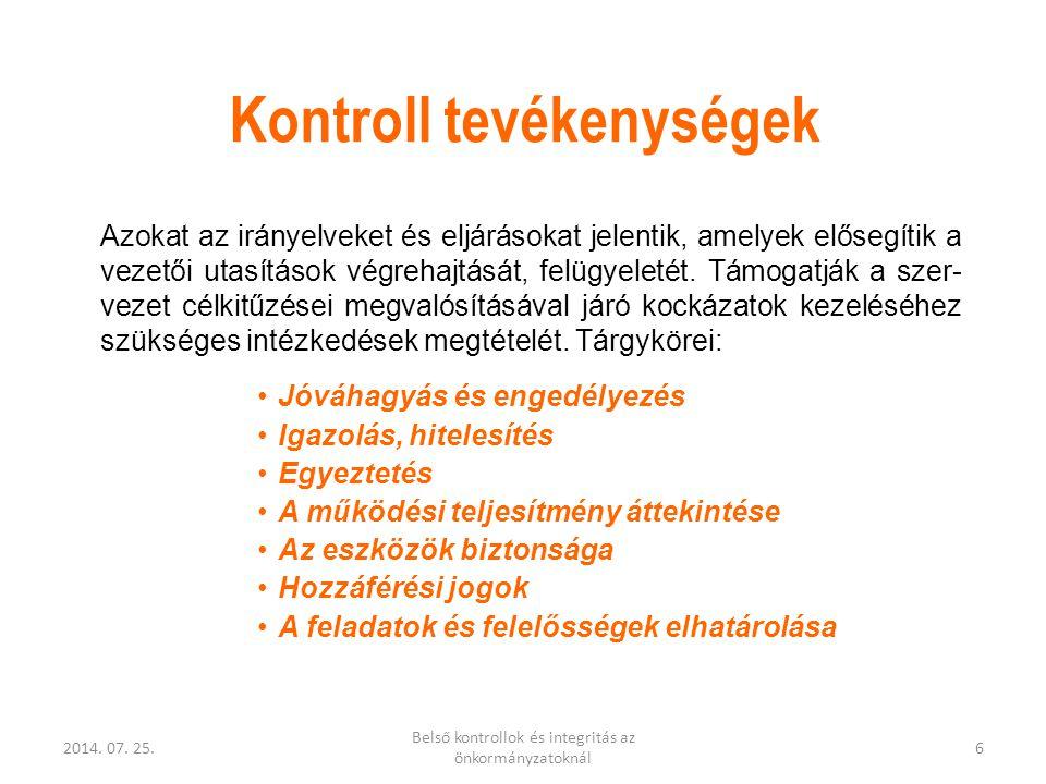 2014. 07. 25. Belső kontrollok és integritás az önkormányzatoknál 6 Kontroll tevékenységek Azokat az irányelveket és eljárásokat jelentik, amelyek elő
