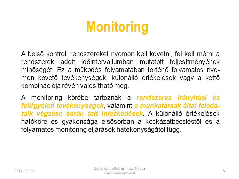 2014. 07. 25. Belső kontrollok és integritás az önkormányzatoknál 8 Monitoring A belső kontroll rendszereket nyomon kell követni, fel kell mérni a ren