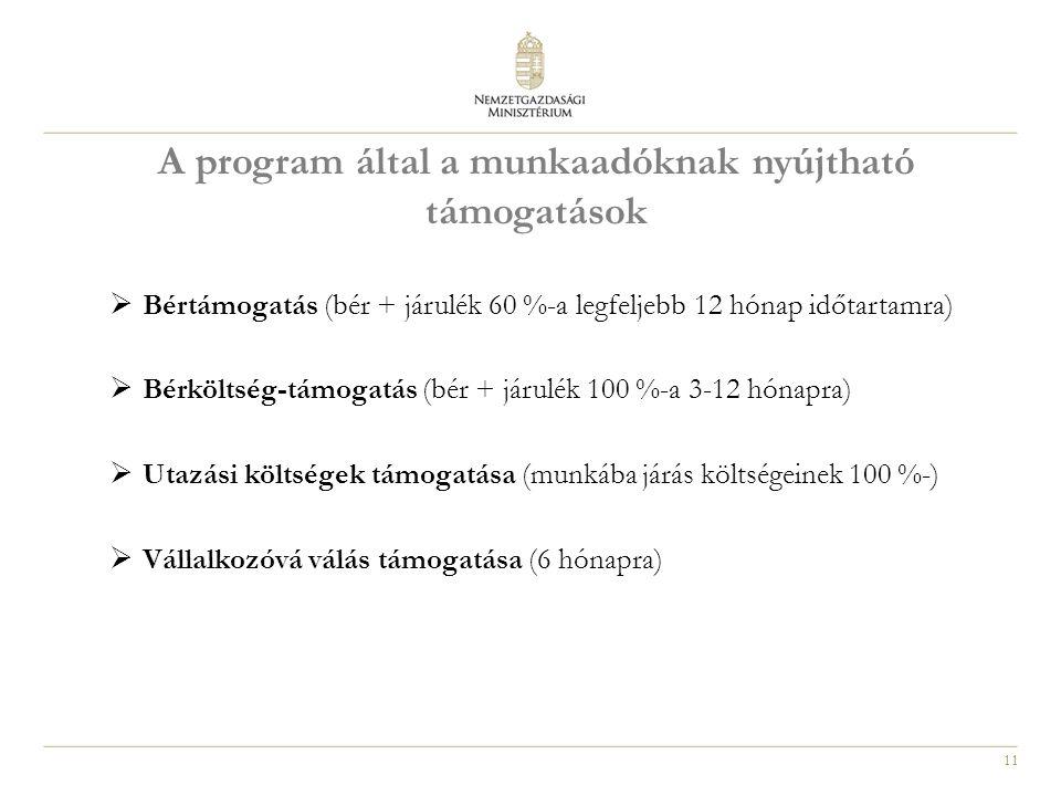 11 A program által a munkaadóknak nyújtható támogatások  Bértámogatás (bér + járulék 60 %-a legfeljebb 12 hónap időtartamra)  Bérköltség-támogatás (