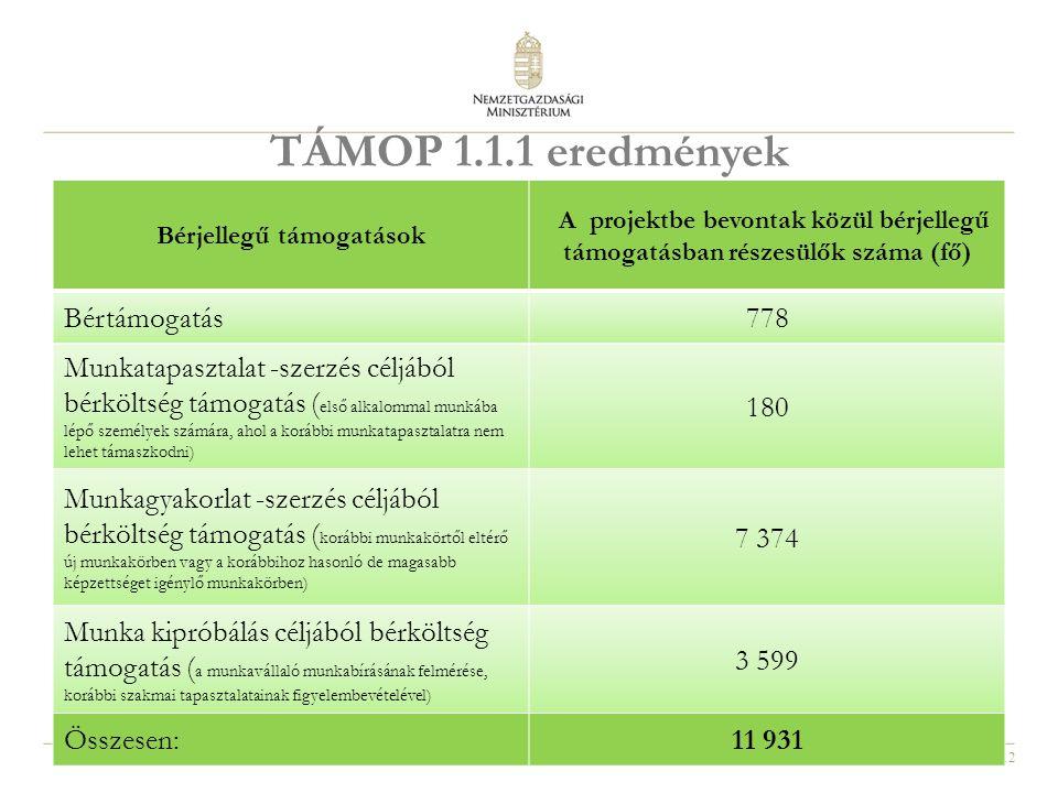12 TÁMOP 1.1.1 eredmények Bérjellegű támogatások A projektbe bevontak közül bérjellegű támogatásban részesülők száma (fő) Bértámogatás778 Munkatapasztalat -szerzés céljából bérköltség támogatás ( első alkalommal munkába lépő személyek számára, ahol a korábbi munkatapasztalatra nem lehet támaszkodni) 180 Munkagyakorlat -szerzés céljából bérköltség támogatás ( korábbi munkakörtől eltérő új munkakörben vagy a korábbihoz hasonló de magasabb képzettséget igénylő munkakörben) 7 374 Munka kipróbálás céljából bérköltség támogatás ( a munkavállaló munkabírásának felmérése, korábbi szakmai tapasztalatainak figyelembevételével) 3 599 Összesen:11 931