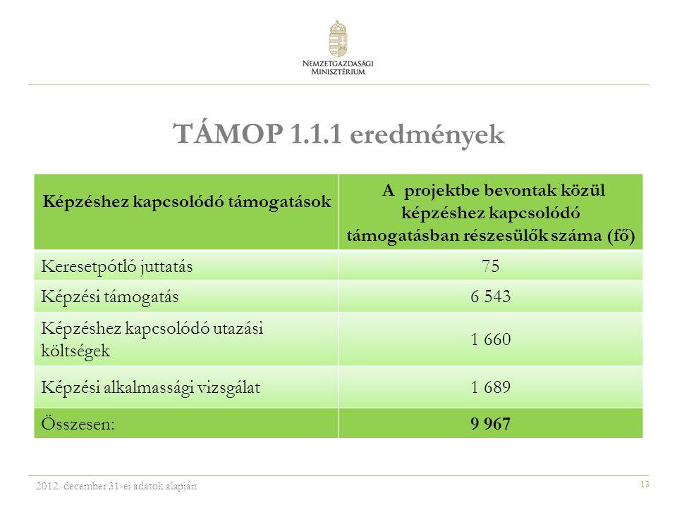 13 TÁMOP 1.1.1 eredmények Képzéshez kapcsolódó támogatások A projektbe bevontak közül képzéshez kapcsolódó támogatásban részesülők száma (fő) Keresetpótló juttatás75 Képzési támogatás6 543 Képzéshez kapcsolódó utazási költségek 1 660 Képzési alkalmassági vizsgálat1 689 Összesen:9 967 2012.
