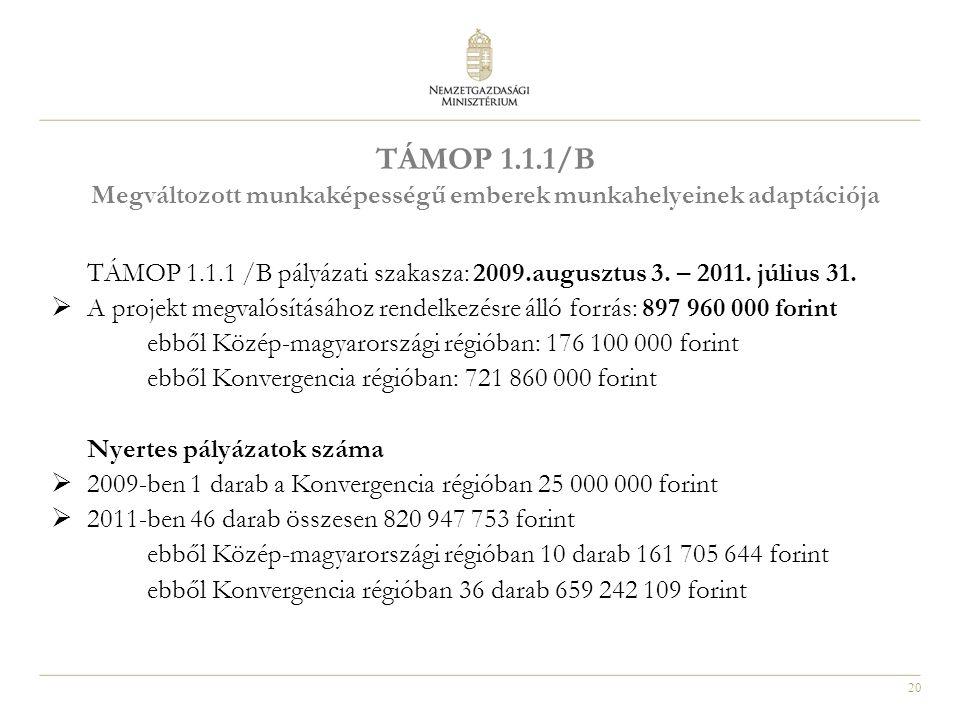 20 TÁMOP 1.1.1/B Megváltozott munkaképességű emberek munkahelyeinek adaptációja TÁMOP 1.1.1 /B pályázati szakasza: 2009.augusztus 3. – 2011. július 31