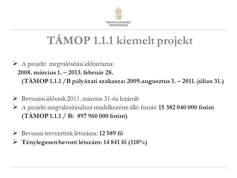 7 TÁMOP 1.1.1 kiemelt projekt  A projekt megvalósítási időtartama: 2008. március 1. – 2013. február 28. (TÁMOP 1.1.1 /B pályázati szakasza: 2009.augu