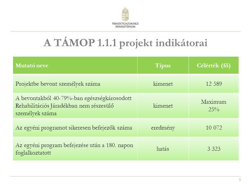8 A TÁMOP 1.1.1 projekt indikátorai Mutató neveTípusCélérték (fő) Projektbe bevont személyek számakimenet12 589 A bevontakból 40-79%-ban egészségkárosodott Rehabilitációs Járadékban nem részesülő személyek száma kimenet Maximum 25% Az egyéni programot sikeresen befejezők számaeredmény10 072 Az egyéni program befejezése után a 180.