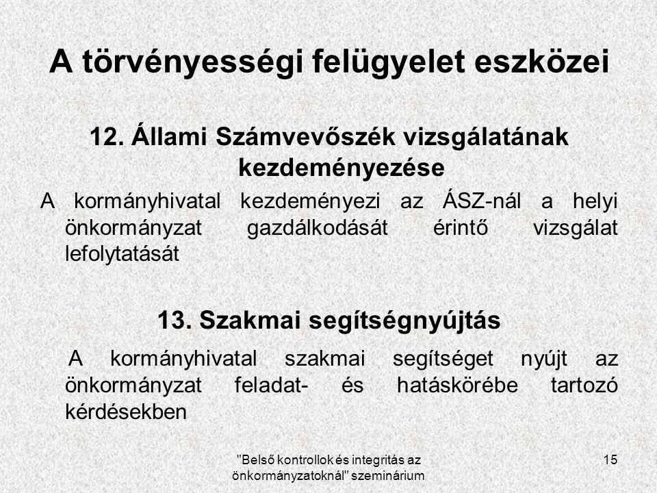Belső kontrollok és integritás az önkormányzatoknál szeminárium 15 A törvényességi felügyelet eszközei 12.