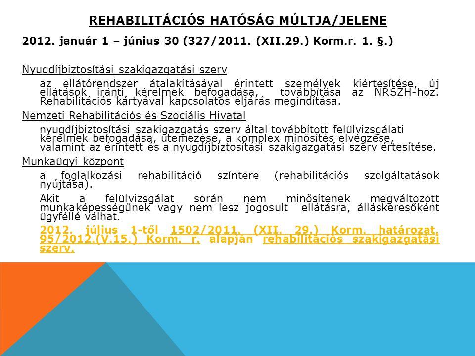 REHABILITÁCIÓS HATÓSÁG MÚLTJA/JELENE 2012. január 1 – június 30 (327/2011. (XII.29.) Korm.r. 1. §.) Nyugdíjbiztosítási szakigazgatási szerv az ellátór