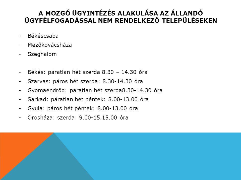 A MOZGÓ ÜGYINTÉZÉS ALAKULÁSA AZ ÁLLANDÓ ÜGYFÉLFOGADÁSSAL NEM RENDELKEZŐ TELEPÜLÉSEKEN -Békéscsaba -Mezőkovácsháza -Szeghalom -Békés: páratlan hét szerda 8.30 – 14.30 óra -Szarvas: páros hét szerda: 8.30-14.30 óra -Gyomaendrőd: páratlan hét szerda8.30-14.30 óra -Sarkad: páratlan hét péntek: 8.00-13.00 óra -Gyula: páros hét péntek: 8.00-13.00 óra -Orosháza: szerda: 9.00-15.15.00 óra