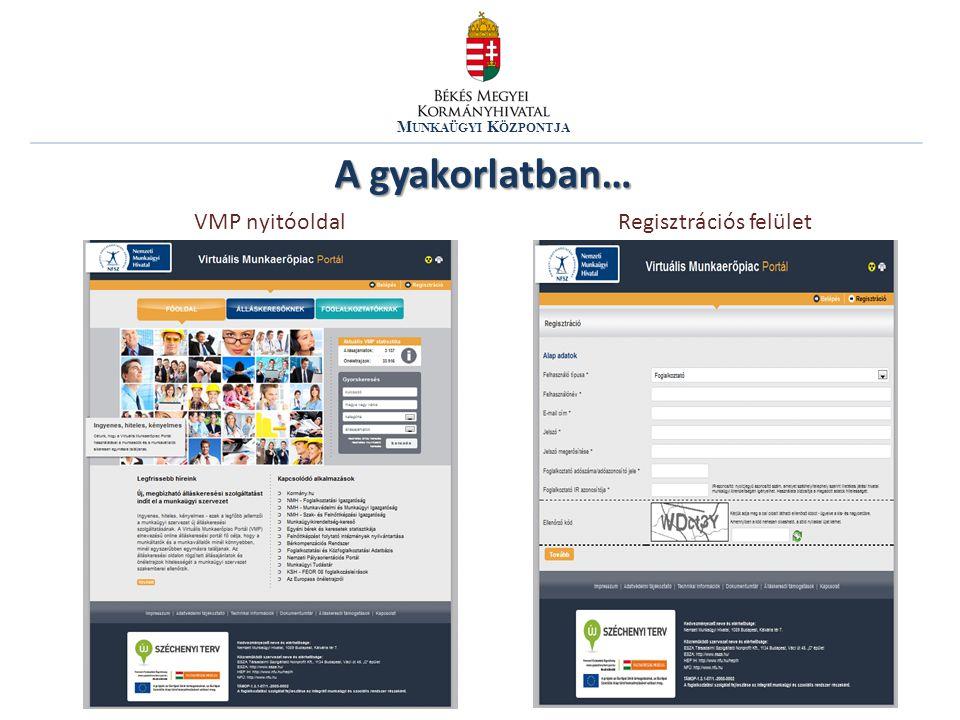 M UNKAÜGYI K ÖZPONTJA A gyakorlatban… VMP nyitóoldalRegisztrációs felület