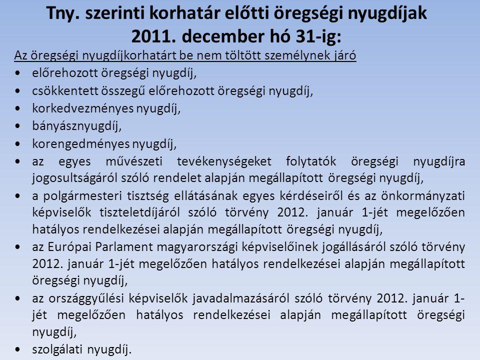 Korhatár előtti öregségi nyugdíjak továbbfolyósítása 2012.