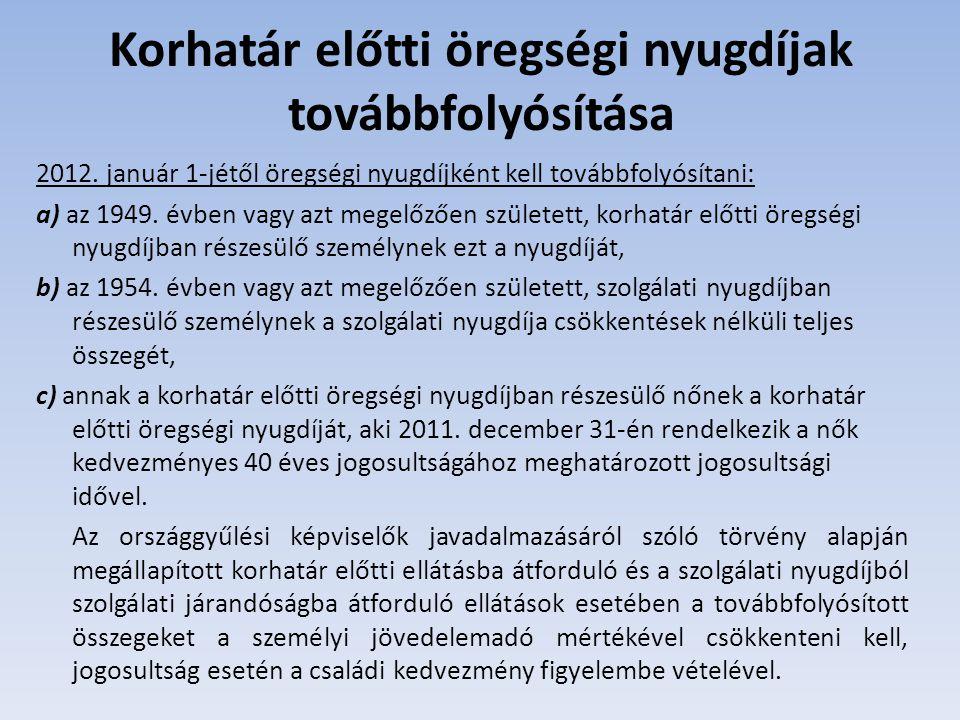 2011.december 31-ét követő kezdő naptól korhatár előtti ellátásra jogosult: a) az, aki 2011.