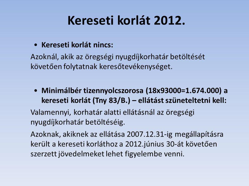 Kereseti korlát szerint, ha a jövedelem 3 egymást követő hónapra vonatkozó havi átlaga meghaladja a minimálbér 150 százalékát az ellátást meg kell szüntetni: 2012.