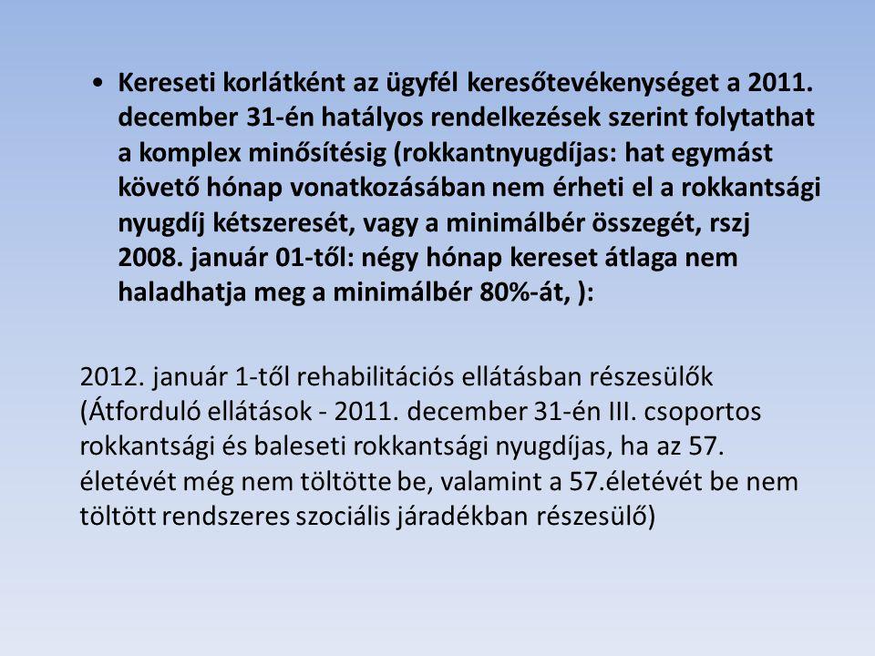 Kereső tevékenységet nem végezhet Rehabilitációs ellátást 2012.