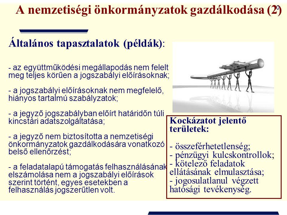 10 A nemzetiségi önkormányzatok gazdálkodása (2) Általános tapasztalatok (példák): - az együttműködési megállapodás nem felelt meg teljes körűen a jog
