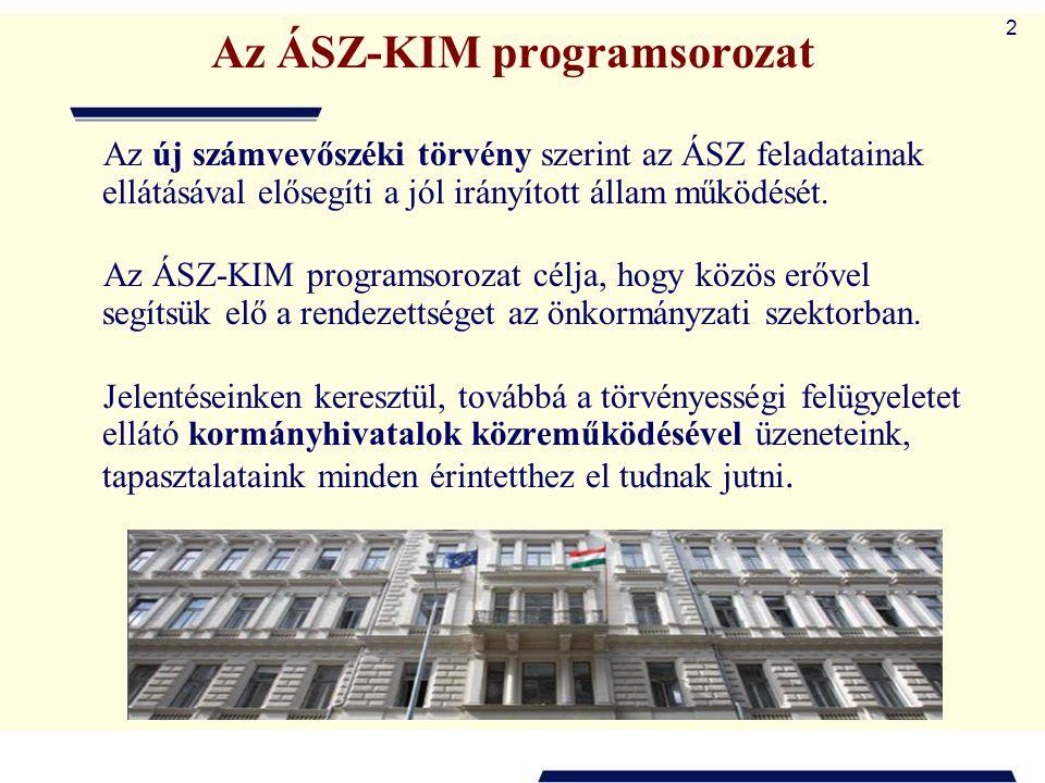 2 Az ÁSZ-KIM programsorozat Az új számvevőszéki törvény szerint az ÁSZ feladatainak ellátásával elősegíti a jól irányított állam működését. Az ÁSZ-KIM