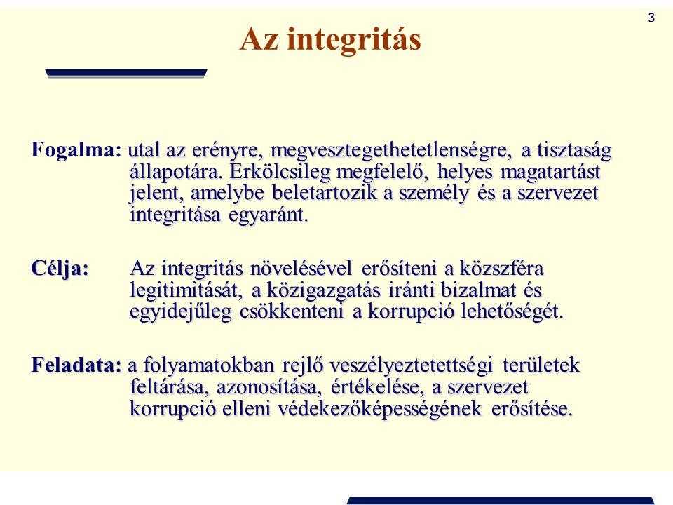 3 Az integritás utal az erényre, megvesztegethetetlenségre, a tisztaság állapotára. Erkölcsileg megfelelő, helyes magatartást jelent, amelybe beletart