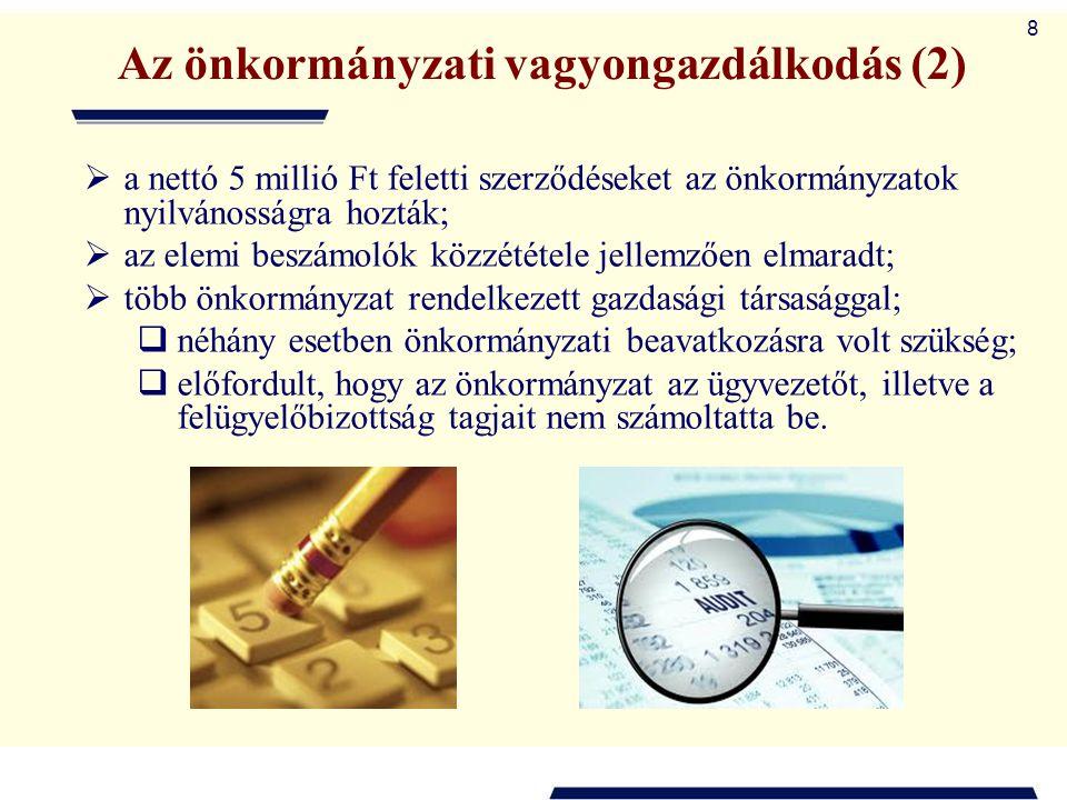 8 Az önkormányzati vagyongazdálkodás (2)  a nettó 5 millió Ft feletti szerződéseket az önkormányzatok nyilvánosságra hozták;  az elemi beszámolók kö
