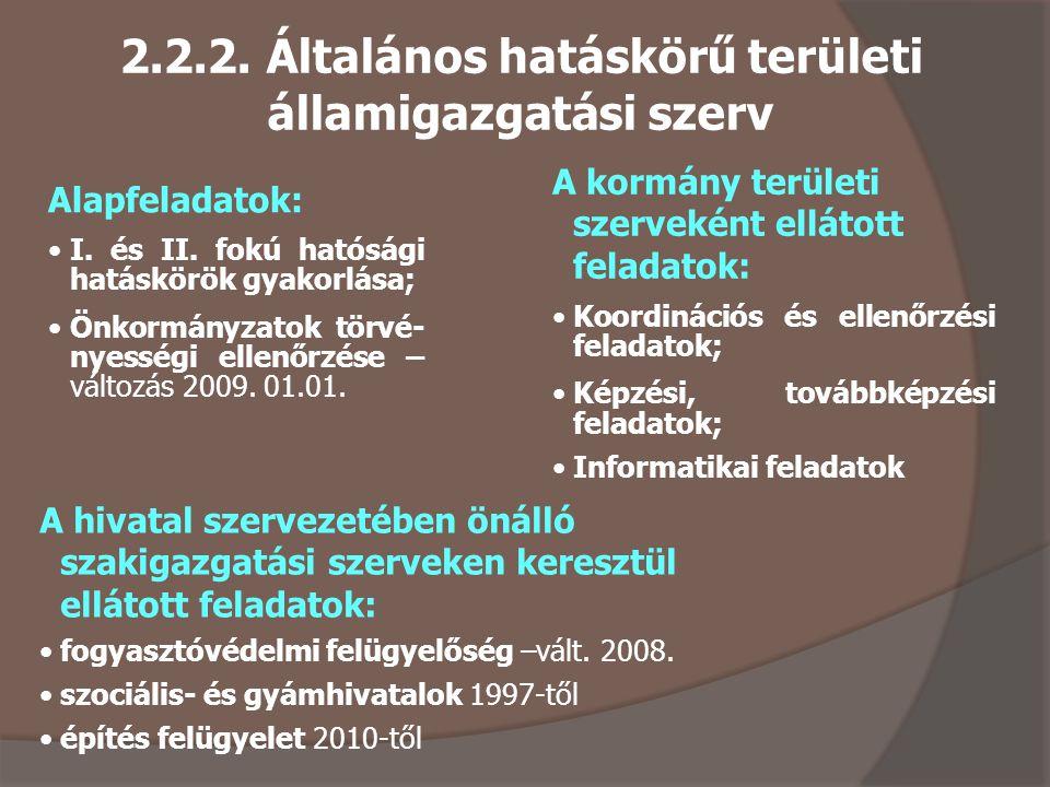2.2.2.Általános hatáskörű területi államigazgatási szerv Alapfeladatok: I.