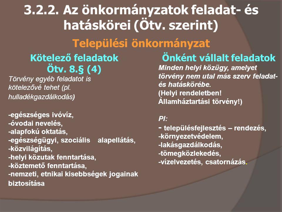 3.2.2.Az önkormányzatok feladat- és hatáskörei (Ötv.
