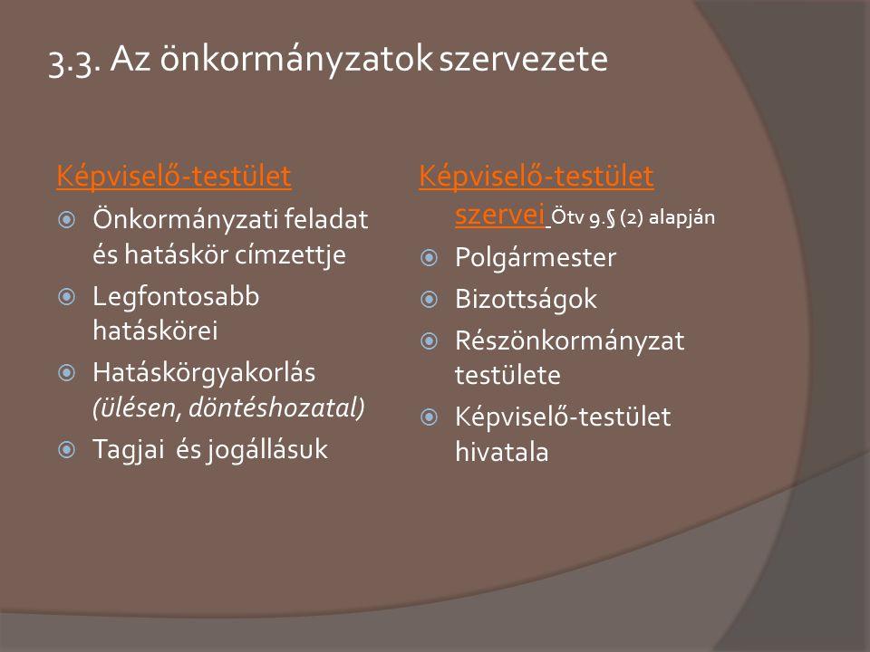 3.3. Az önkormányzatok szervezete Képviselő-testület  Önkormányzati feladat és hatáskör címzettje  Legfontosabb hatáskörei  Hatáskörgyakorlás (ülés