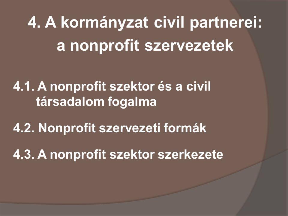 4.A kormányzat civil partnerei: a nonprofit szervezetek 4.1.