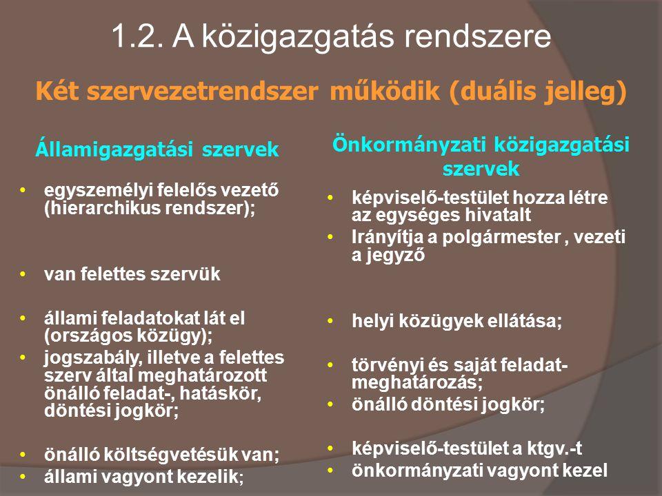 1.2. A közigazgatás rendszere egyszemélyi felelős vezető (hierarchikus rendszer); van felettes szervük állami feladatokat lát el (országos közügy); jo