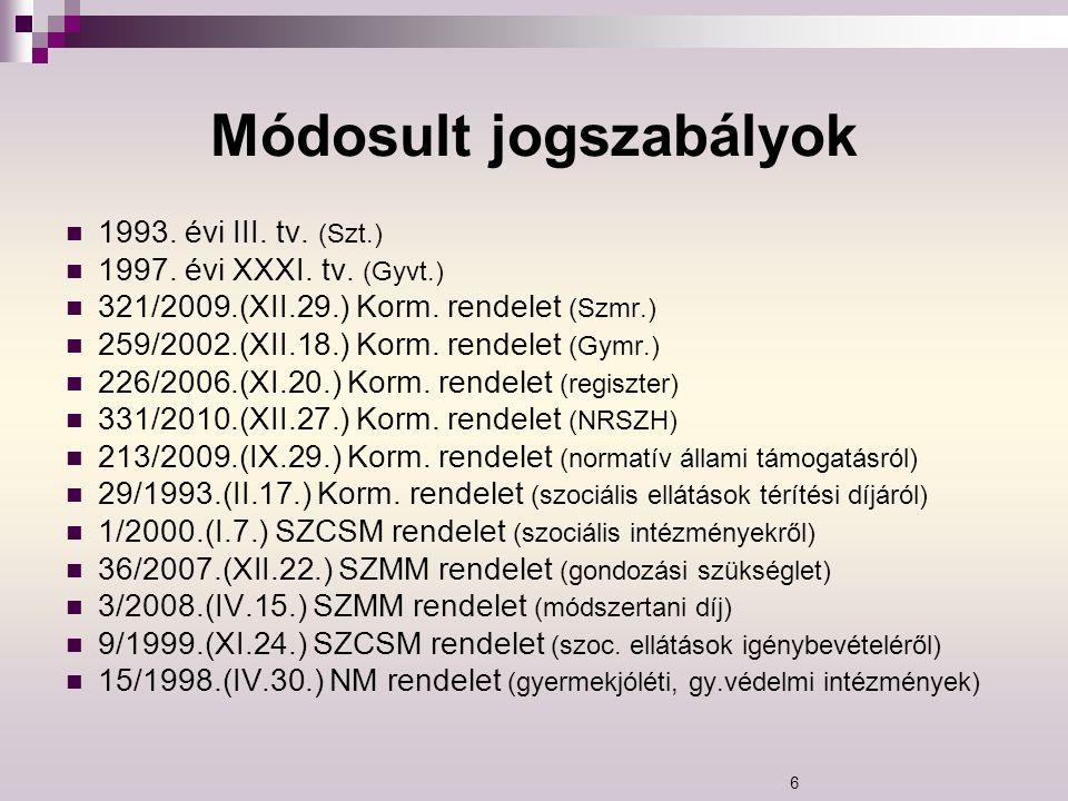 Módosult jogszabályok 1993. évi III. tv. (Szt.) 1997. évi XXXI. tv. (Gyvt.) 321/2009.(XII.29.) Korm. rendelet (Szmr.) 259/2002.(XII.18.) Korm. rendele