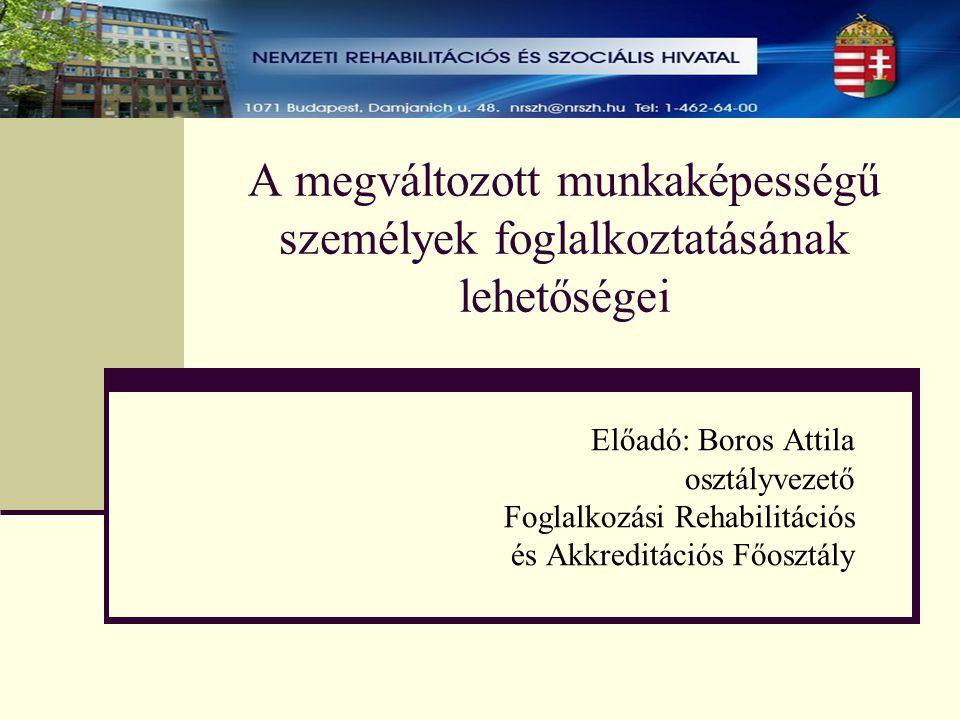 A megváltozott munkaképességű személyek foglalkoztatásának lehetőségei Előadó: Boros Attila osztályvezető Foglalkozási Rehabilitációs és Akkreditációs