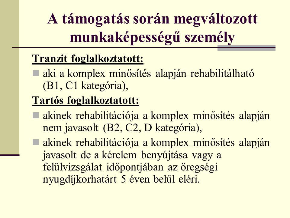A támogatás során m egváltozott munkaképességű személy Tartós foglalkoztatott: Akinek foglalkoztatása alapján a munkáltató 2012.