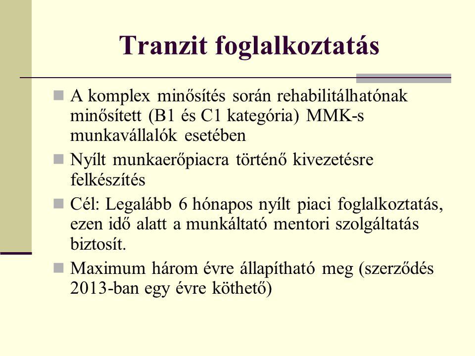 Tranzit foglalkoztatás A komplex minősítés során rehabilitálhatónak minősített (B1 és C1 kategória) MMK-s munkavállalók esetében Nyílt munkaerőpiacra