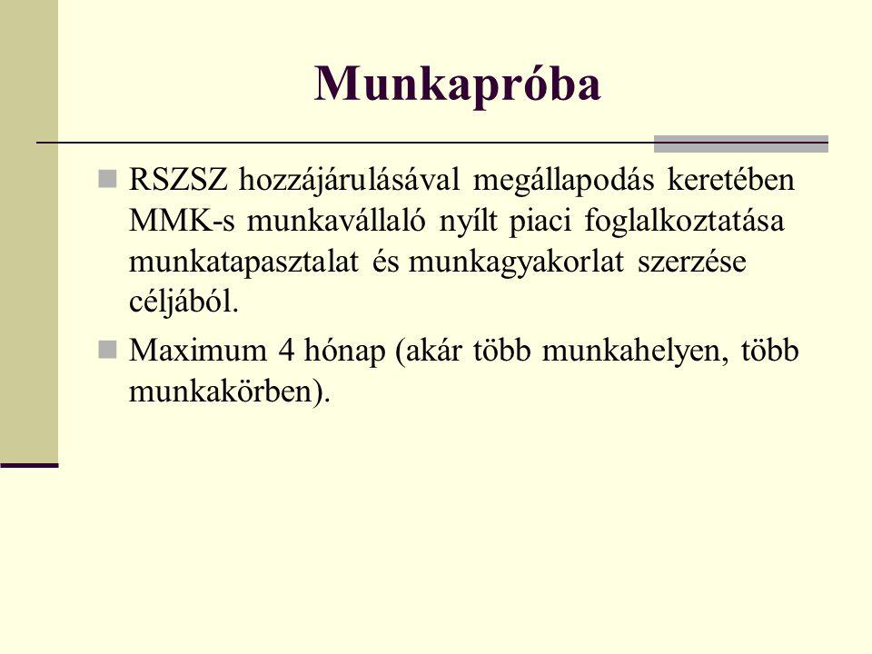 Munkapróba RSZSZ hozzájárulásával megállapodás keretében MMK-s munkavállaló nyílt piaci foglalkoztatása munkatapasztalat és munkagyakorlat szerzése cé
