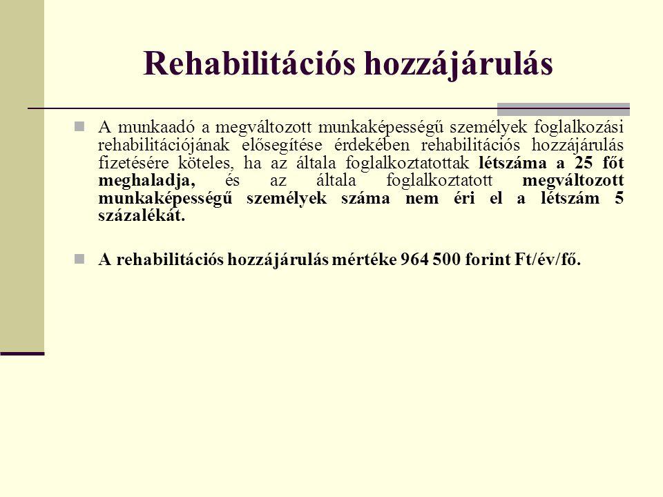 Rehabilitációs hozzájárulás A munkaadó a megváltozott munkaképességű személyek foglalkozási rehabilitációjának elősegítése érdekében rehabilitációs ho