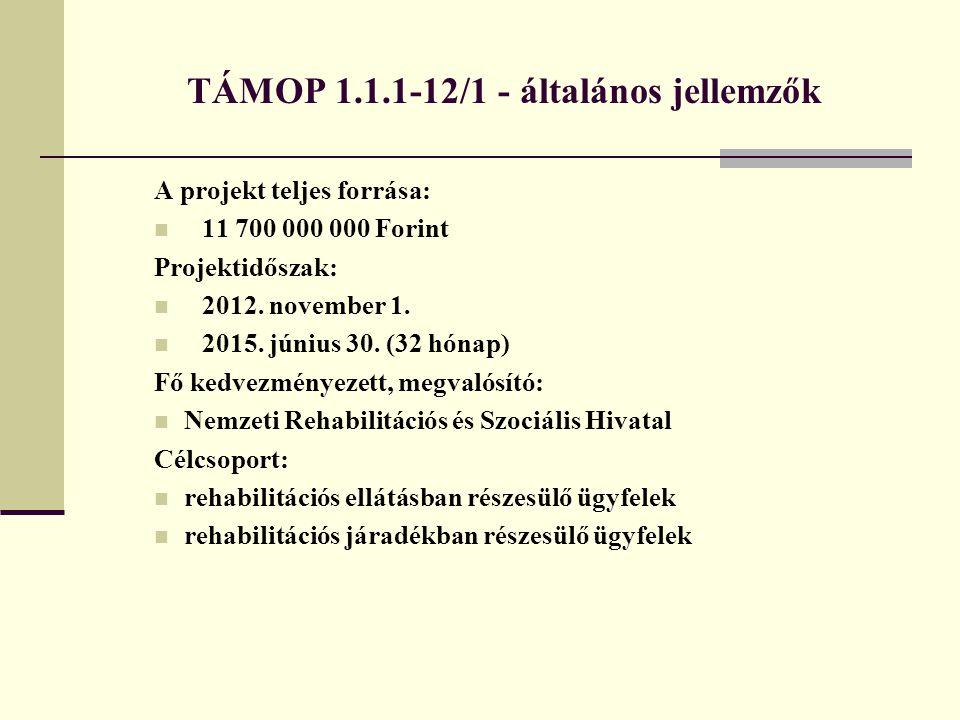 TÁMOP 1.1.1-12/1 - általános jellemzők A projekt teljes forrása: 11 700 000 000 Forint Projektidőszak: 2012. november 1. 2015. június 30. (32 hónap) F